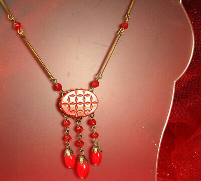 """1930s DECO LAVALIER Necklace Opaque CHERRY RED CZECH GLASS 20"""" Matinee Stunning!"""