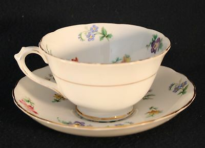 Tea Cup and Saucer Fine Bone China England Tuscan white floral pattern gold trim