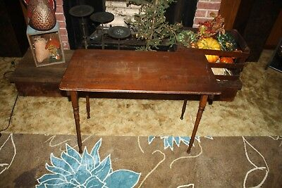 Antique Seamstress Table 19th Century Folding Wooden Sewing Table Signed Hamend