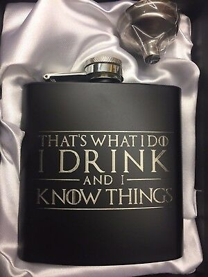 Tyrion Lannister black HIP FLASK I Drink and I Know Things game of thrones 6oz