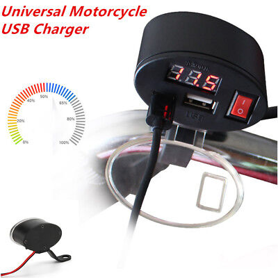 Universal USB Motorcycle Handlebar Charger Socket w/ Switch & Mounts Time-proof