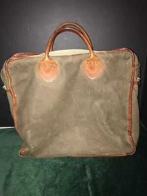 ee39bbb6e647 LL Bean Boat   Tote Bag Large Waxed Canvas - Vintage - Leather Handles -  Rare