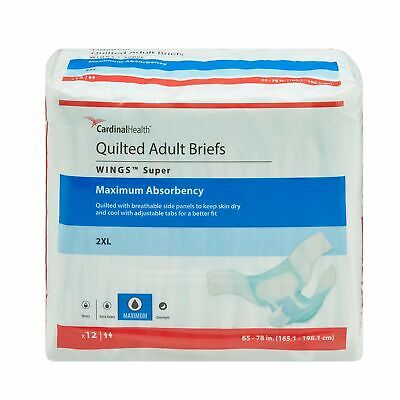 Wings Super HEAVY Absorbency Adult Diaper Brief 2X-LARGE Quilted 67093 48/Case
