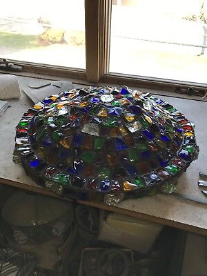 Amazing antique all chunk glass lampshade 20 inch diameter