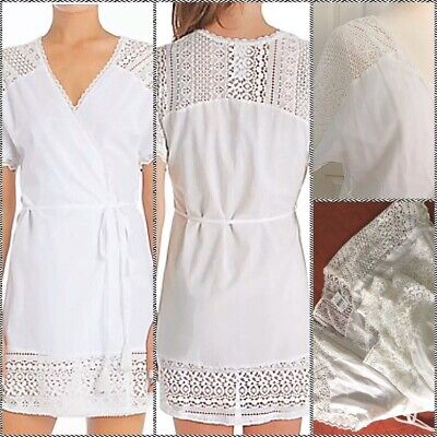 $58 BRAND NWT ~ In Bloom by Jonquil French Lace Cotton Robe SZ XL White