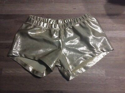 Destira Dance / Gymnastic / Competition Metallic Gold Shorts Girls M