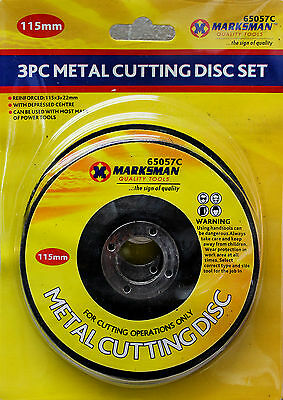 """METAL CUTTING FLAT DISCS 4.5"""" 115mm POWER TOOLS ANGLE GRINDER CUTTER BLADE SET"""