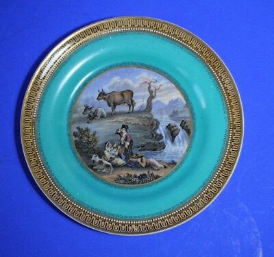 Antique PRATTWARE Plate - THE  WATERFALL -  Turquoise Border #4