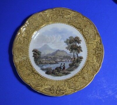 Antique PRATTWARE Scenic Plate .Gold and Beige Borders c1900  1#