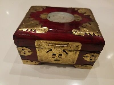 Org Vintage Wooden & Brass Oriental Jewelry Box- Bone Ivory Inlay