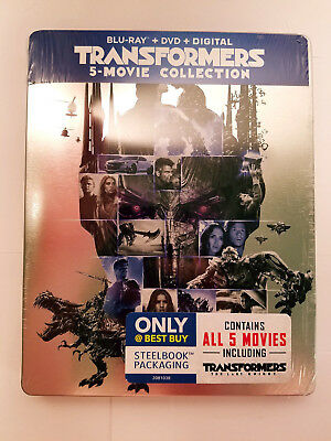 Transformers 5-Movie STEELBOOK Collection 5x Blu Ray set (DIGITAL REMOVED)
