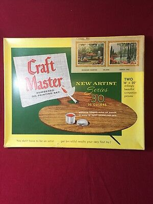 Vintage Craft Master OIL PAINT BY NUMBER SET 30 Brookside Fountain Mirror Lake