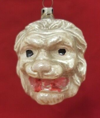 Rare Vintage 1920's Roaring Lion Head Glass Ornament 3""