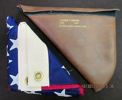 US Military American Flag USN Navy Issue with Pouch - 1970's