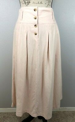 RARE 80s Vtg OUTBACK RED 100% Silk Blush Pink Midi Skirt Pleated Pockets A-line
