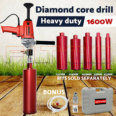 1600W Diamond Core Drill Concrete Hand-Held Machine Wet Drilling 5 Drill Bits OZ