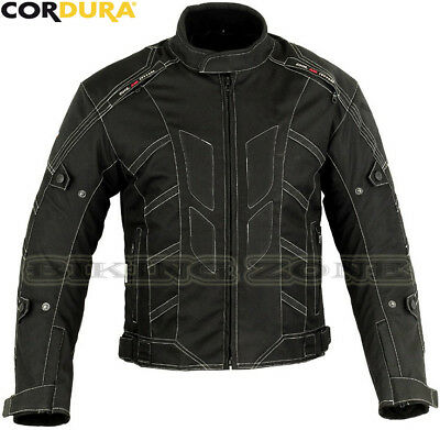 Mens Black Smart Fit Winter Ce Armour Vented Motorbike Motorcycle Textile Jacket