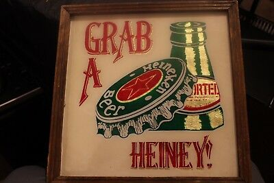 "Vintage Heineken Beer Grab A Heiney! Foil Sign 7""x7"" Wood Frame"