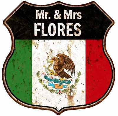 The Flores Family Round Metal Sign Kitchen Game Room Décor 100140038056