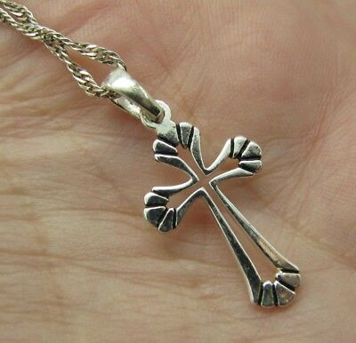 60c9cf963764 STERLING SILVER Prince of Wales CHAIN NECKLACE CROSS PENDANT Gothic CELTIC  Nice!