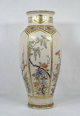 Antique Japanese Ceramic 6 Panels/Sides Vase Meiji Period