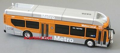Orange and Silver Los Angeles Metro 1/87 Scale New Flyer Xcelsior CNG Bus