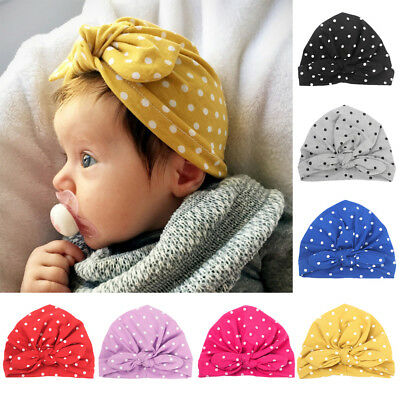 Baby Infant Girls Cute Stretchy Turban Polka Dots Hat Hair Head Wrap Beanie Cap