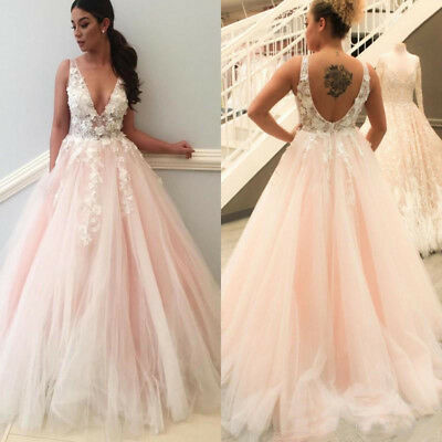 98083c077f96 Blush Pink Wedding Dresses Lace Appliques V Neck Open Back Bridal Gown Plus  Size