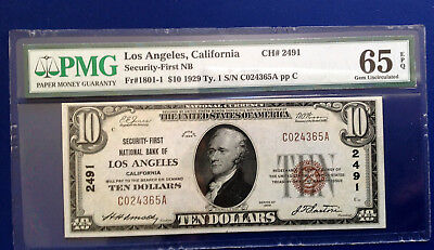 $10 1929 National Bank Note FR#1801-1 Type-I CA PMG65 Gem Uncirculated