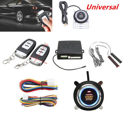 Car Alarm System Passive Keyless Entry Push Button Remote Engine Start/Stop Kit