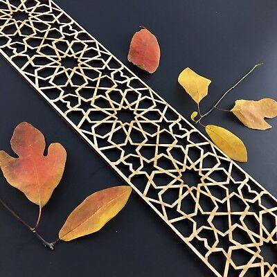 Moroccan Carved Border Panel Geometric Wooden Panel Laser Cut