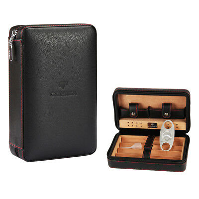 COHIBA Black Quality Leather Cedar Cigar Case Humidor With Cutter Set 4 Count