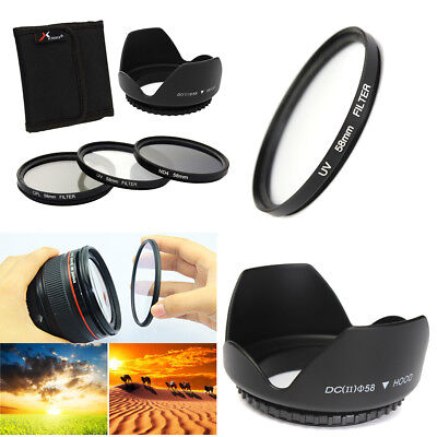 58mm UV + CPL + ND4 Polarizing Filter Set + Lens Hood + Case For Canon Camera