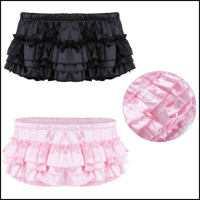 US-Mens Satin Brief Ruffled Sissy Thong Panties Skirted Underwear Gay Crossdress