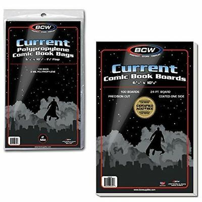 200 EACH NEW BCW CURRENT Comic Book Bags & Boards FREE & QUICK SHIPPING