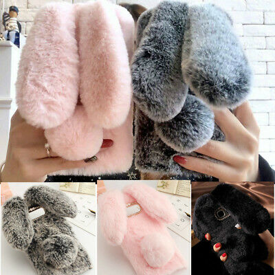 For Samsung S9 S8 S7 A5 J3 Warm Faux Fur 3D Plush Lovely Rabbit Ears Case Cover