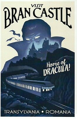 Bran Castle Transylvania Romania, Home of Dracula, Vampire Bats Train - Postcard