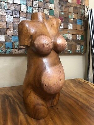 """CLEARANCE 20"""" Suar Wood Hand Carved Nude Pregnant Female Body Torso Sculpture"""
