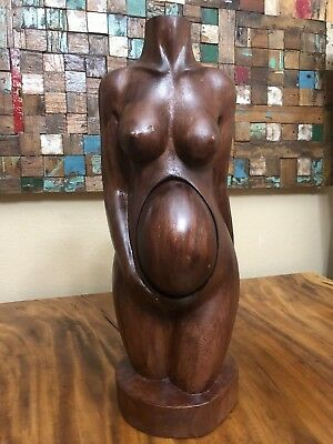 """CLEARANCE 21"""" Suar Wood Hand Carved Nude Pregnant Female Body Womb Sculpture"""