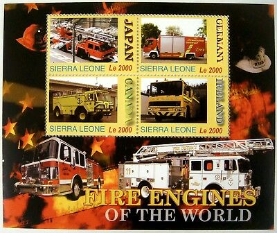 Fire Engines Stamp Sheet Of 4 Mnh 2005 Sierra Leone Fire Truck Of The World