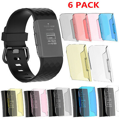 6 Pack Transparent Case Cover Shell Replacement Protector for Fitbit Charge 3