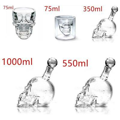 Crystal Skull Head Vodka-Shot Whiskey Wine Drinking Glass Bottle Decanter Cup