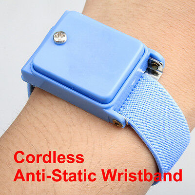 Blue Cordless Wireless Anti Static ESD Discharge Cable Band Wrist Strap Slim UK