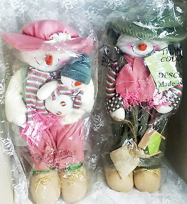 """Mr. & Mrs. Country Snowman - Set of 2 Dolls - 18"""" Tall - Weighted Bottoms - New!"""