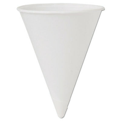 Cone Water Cups, Cold, Paper, 4oz, White, 200/Bag, 25 Bags/Carton