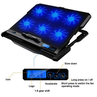 6 Fans Blue LED 2 USB Port Cooling Stand Pad Cooler Stand For Laptop Notebook