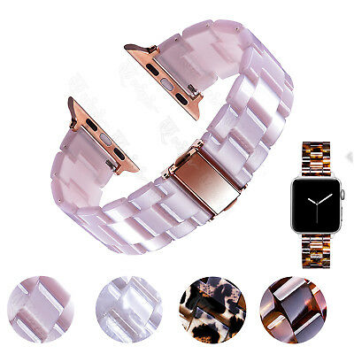 Luxury Leopard Tortoise Resin Watch Strap For Apple iWatch 38 40 42 44mm Band