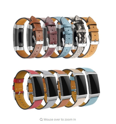 Genuine Leather Cowhide Strap Watch Wrist Band For Fitbit Charge 3