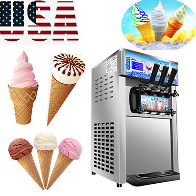 Commercial Soft Ice Cream 3 Flavor Steel Frozen Yogurt Cone Maker Machine USA