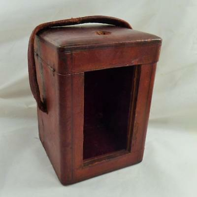ANTIQUE CARRIAGE CLOCK LEATHER DISPLAY CASE BOX (empty) vintage worn
